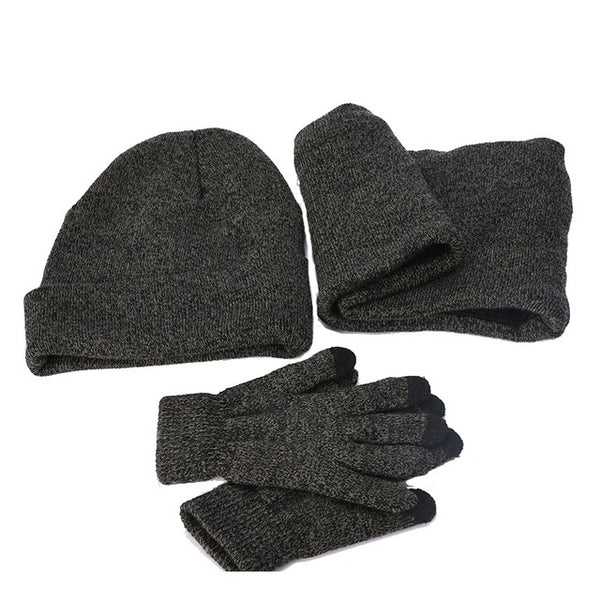 Lesov 3 Pcs/set Plush Knitted Beanie Hat Touch Screen Gloves And Collar Scarf Men Warm Winter Driving Gloves Skull Snow Caps New