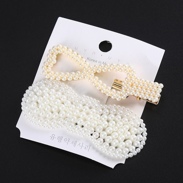 Levao 2PCS/Set Women Girls Elegant Pearls Hair Clips Sweet Headwear Hair Ornament Hairpins Barrettes Headband Hair Accessories