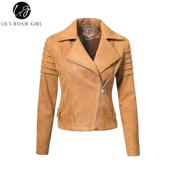 Lily Rosie Girl Casual Suede Leather Women Jacket Ruffle Long Sleeve Short Coats -  Winter Female Fuax Coat Outerwear Crop Top