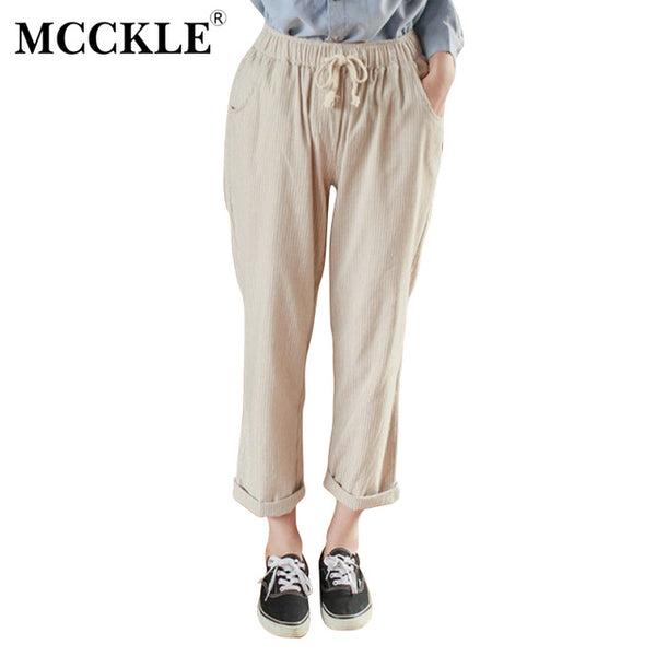 Linen Cotton Striped High Waist Woman's Harem Pants Lace Up Trousers for Women Spring Fashion Loose Casual Pants Female
