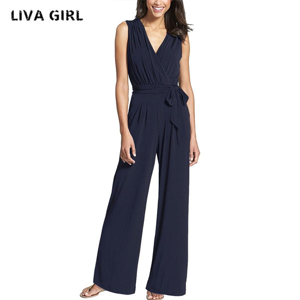 Liva Girl Long Black Rompers Womens Jumpsuit Winter Autumn Party V-neck Embellished Cuffs No Sleeves Loose Club Pants YP70534