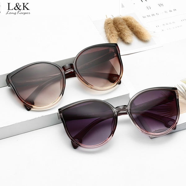 Long Keeper Cat Eye Sunglasses Women Men Vintage Gradient Glasses Retro Sun Glasses Female Eyewear UV400 Fashion Drive Outdoor
