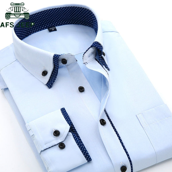 Long Sleeve Dress Shirt Men Plus Size 4XL High Quality Solid Shirt hombre Causal Slim Fit Business Shirts Men Chemise Homme
