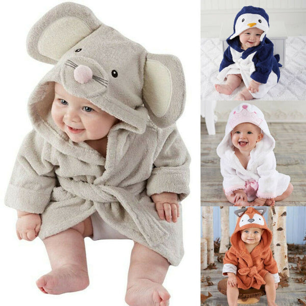 Blue Shark Baby Bath Towels Mouse Newborn Blanket Bedding Swaddle Animal Bebe Bathrobe Hooded Bathing Towel baby stuff