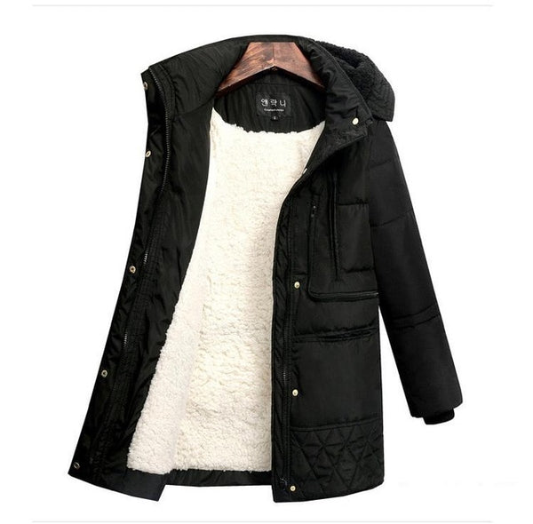 Spring Winter Women's Jackets Cotton Coat Padded Long Slim Hooded Parkas Female Outwear Warm Jacket Wool Clothing