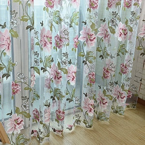Luxury Jacquard Sheer Curtains for Living Room The Bedroom Kitchen Tulle for Windows Voile Yarn Curtains Panel Window Treatments