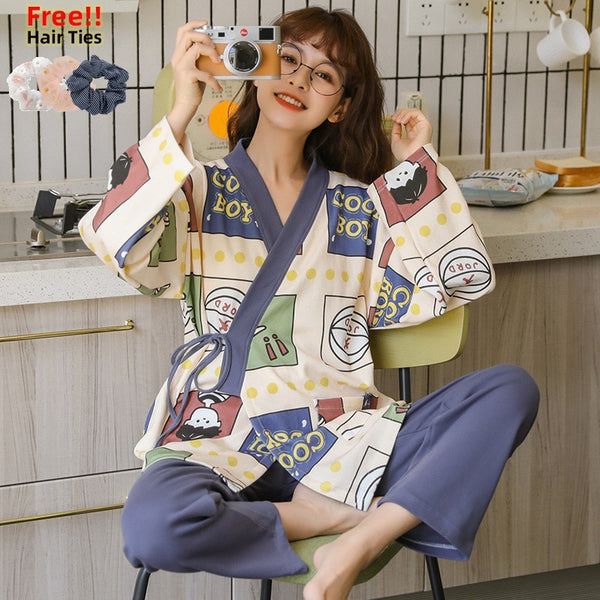 MELIFLE Autumn Japanese Kimono Pajama Set for Women 100% Cotton PJS Satin Atoff Home Sleepwear Winter Warm Yukata Silk Nightwear