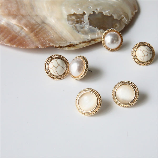 MENGJIQIAO Japan New Vintage Round Marble Opal Stone Big Stud Earrings For Women Fashion Temperament Simulated Pearl Brinco