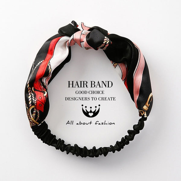 MENGJIQIAO Women Hair Accessories Fashion Headband Fabric Cross Knotted Bow Chiffon Floral Hair Band Korea Headdress ladies Hoop