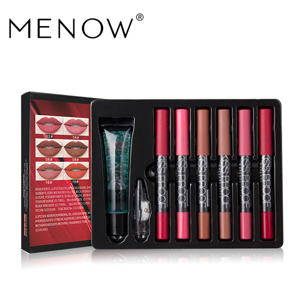 MENOW Brand Make up set 6 kiss proof Lipstick & Pencil sharpener & remover Cosmetic combination Waterproof Lip make up K906