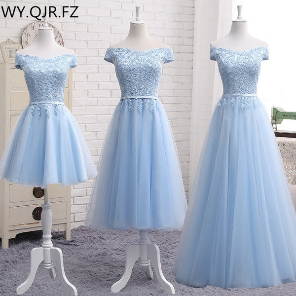 MNZ502L#embroidery blue lace up bridesmaid dresses new autumn winter short middle long sty prom dress girl plus size Custom
