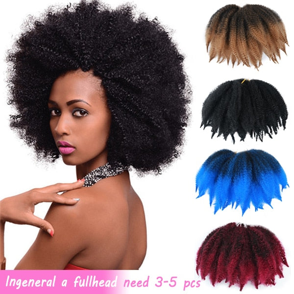 "MODERN QUEEN Soft Afro Kinky Natural Soft Marley braiding Extension For Braids 8""Inch Synthetic Crochet Braids Hair for Women"