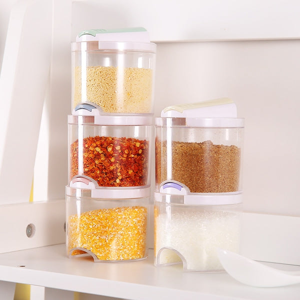 MOM'S HAND 5pcs/Set Kitchen Creative Transparent Seasoning Cans Kitchen Cylindra Spice Rack Condiment Bottles Pepper Shakers Box