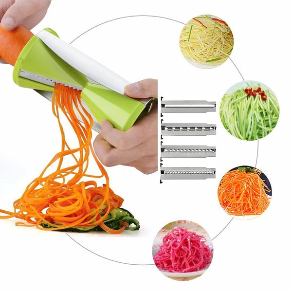 MORGIANA Manual 4-Blade Spiral Vegetable Carrot Cutter Slicer Sprial Radish Cucumber Potato Graters Salad Makers Kitchen Tool