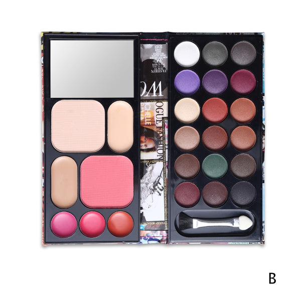 Makeup Set Multi-function 18 Color Eyeshadow Palette + Blusher + 3 Color Lipstick + Eyebrow Cake + Concealer + Bronzer