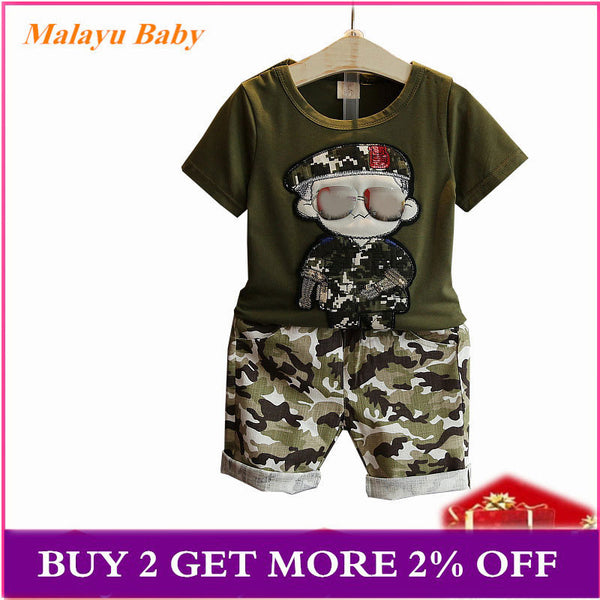 Malayu Baby Children's Clothes Summer Kids Short Sleeves T-Shirt + Camouflage Shorts Suits Toddler Boys Clothing Sets