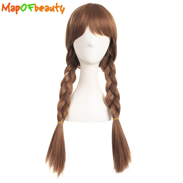 MapofBeauty 70cm Long Braided Cosplay Wigs Silver Brown Gold Elsa and Anna Wig Costume Party Heat Resistant Fake Synthetic Hair