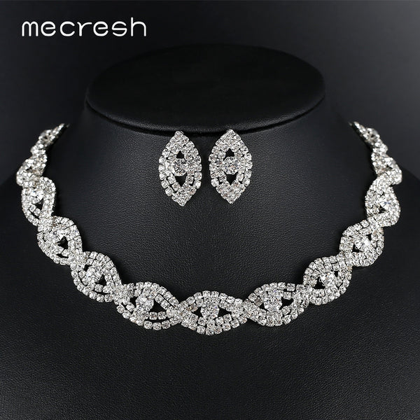 Mecresh Silver Color Rhinestone Bridal Wedding Jewelry Sets for Women Unique Eye Shape Twisted Stud Earrings Necklace Set MTL601