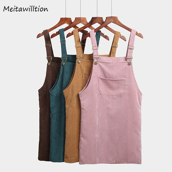 Meitawilltion Summer Women Skirts Casual Corduroy Suspender Overall Vest Jumpsuit Braces Skirt Lady Preppy Style Skirt