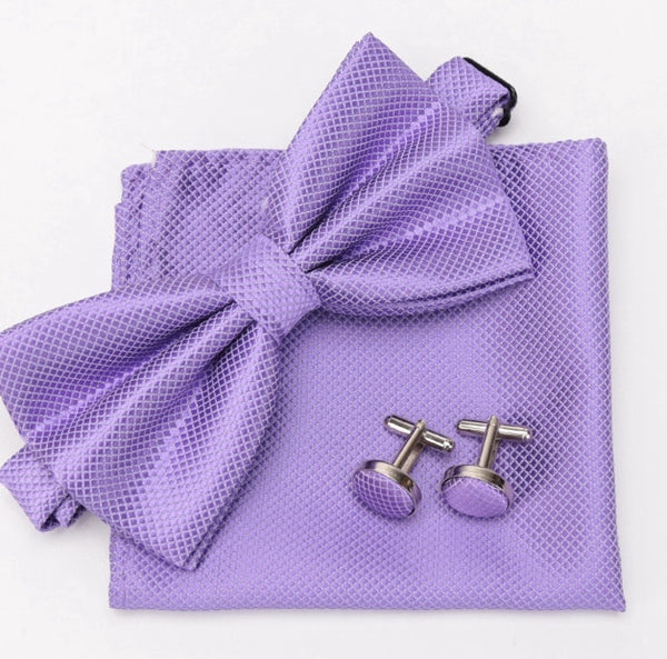 Men Bowtie Cravat Cufflinks 3Pcs Set Fashion Butterfly Party Wedding Bow Ties for Mens Candy Color Bowknot Handkerchief