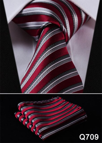 "Men Extra Long Tie Pocket Square Classic Party Wedding Dot Striped 3.4"" Silk Fashion Wedding  XL Necktie Handkerchief Set #Q7"