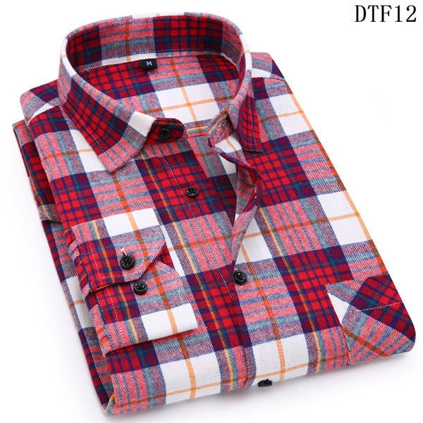 Men Flannel Plaid Shirt 100% Cotton Spring Autumn Casual Long Sleeve Shirt Soft Comfort Slim Fit Styles Brand Man Plus Size