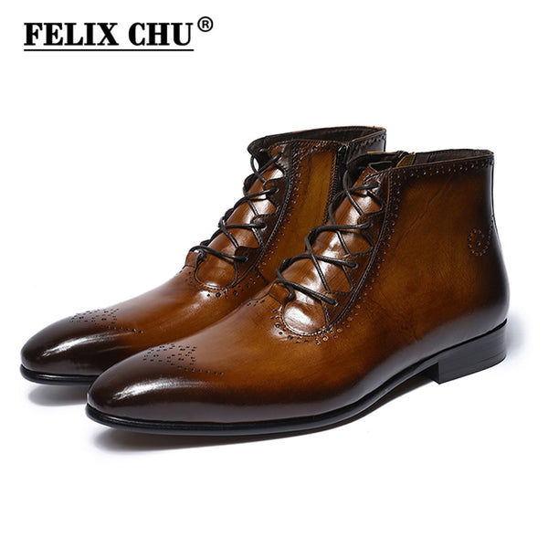 Men Leather Boots Handmade Genuine Leather Mens Ankle Boots Handmade High Top Zip Lace Up Dress Shoes Brown Blue Basic Boots Men