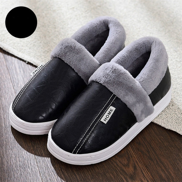 Men Shoes Winter Slippers Home Warm Waterproof Fur Shoes Man Fashion Cotton Women Slip-on Leather Slides Casual Loafers