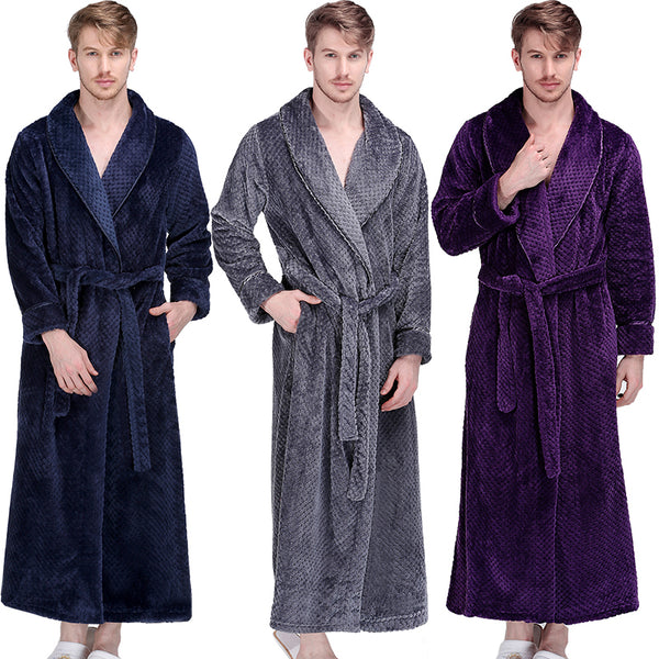 Men Winter Extra Long Thick Warm Grid Flannel Bathrobe Mens Luxury Kimono Bath Robe Women Sexy Robes Male Thermal Dressing Gown