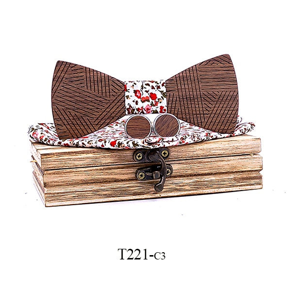 Men's Plaid Wooden Bow Tie Set Striped Wood Bowtie Handkerchief Cufflinks Sets With Wood Box For Men Wedding Gift