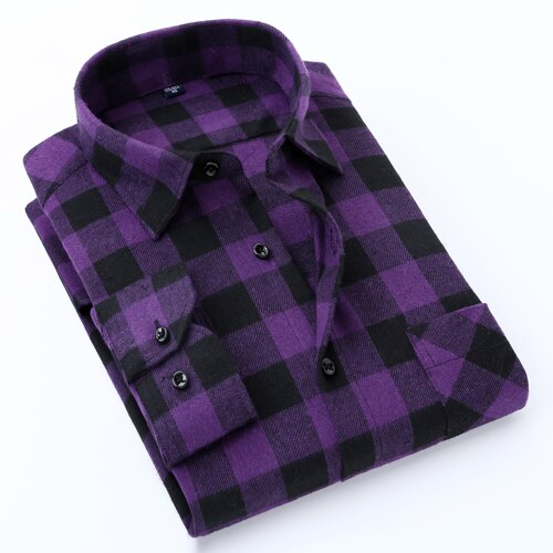 Men's Stylish Long Sleeve Gingham Plaid Brushed Dress Shirt with Chest Pocket Slim-fit Worn-in Comfortable Casual Flannel Shirts