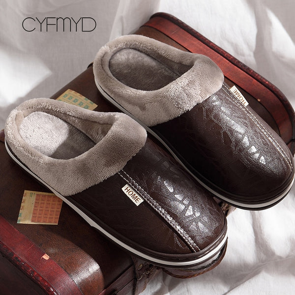 Men shoes Home Slippers men leather Memory Foam Indoor slippers for men Non-Slip Warm Winter House Adult slipper plush