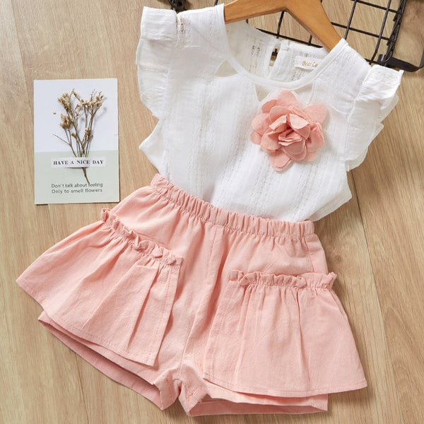 Menoea Girls Suits Summer Style Kids Beautiful Floral Flower Sleeve Children O-neck Clothing Shorts Suit 2Pcs Clothes