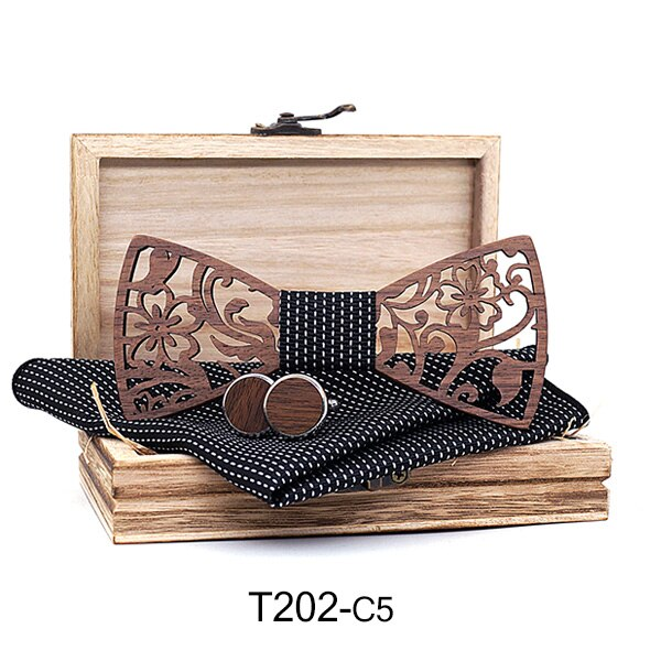 Mens 4PCS Wooden bow Tie Set Men Handkerchief wood Bowtie Cufflinks Necktie Silk Ties For Business Wedding Party Hombre