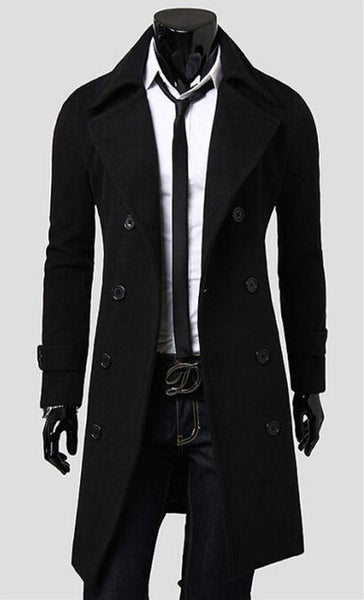 Mens Trench Coat New Fashion Designer Men Long Coat Autumn Winter Double-breasted Windproof Slim Trench Coat Men Plus Size