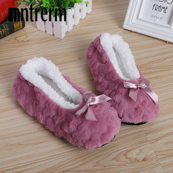 Mntrerm New Cute Indoor Home Slippers Warm Soft Plush Slippers Non-slip Indoor Fur Slippers Solid Color Cute Women Shoes