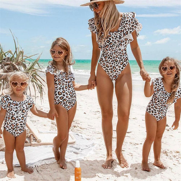 Mom Baby Swimwear One Piece ruffle Swimsuit Bodysuit Parent-child Beach Wear  Leopard Monokini Swimsuit  Bathing Suit Female