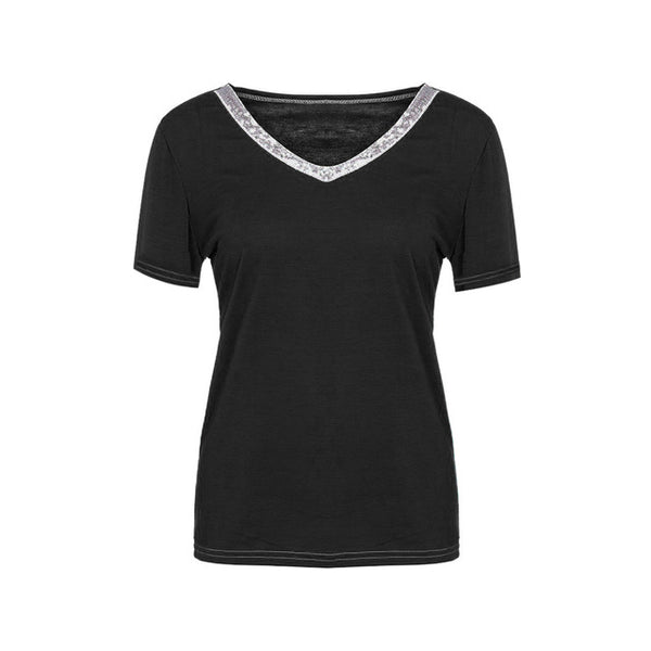 NEW Fashion Womens Shirt Casual Sexy Sequins Short Sleeve V-Neck Tops Casual T-Shirt harajuku tshirt women camiseta mujer