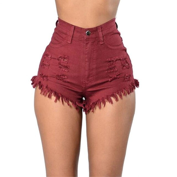 Jeans Fashion  Waist Casual Denim Shorts Women Hole Ripped Torridity Tassel Streetwear  Sexy Shorts
