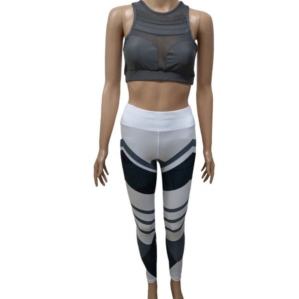 NORMOV Fitness Two-Piece Set Women Sleeveless Mesh Backless Workout Bras Set Femme Skinny Print Mid Waist Push Up Leggings Sets