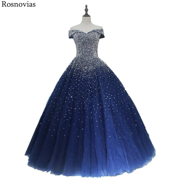 Navy Blue Ball Gown Quinceanera Dresses  Off Shoulder Lace-up Back Major Beading Princess Puffy Prom Party Dresses
