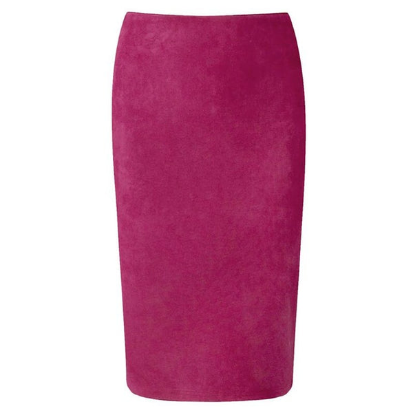 Neophil Winter Women Suede Midi Pencil Skirt High Waist Gray Pink XXL Sexy Style Stretch Wrap Ladies Office Work Saia S1009