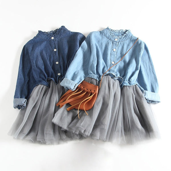 New Spring Autumn Baby Girl Dress Denim Mesh Patchwork Princess Girl Dress Long Sleeve Toddler Kids Dresses for Girls DQ612