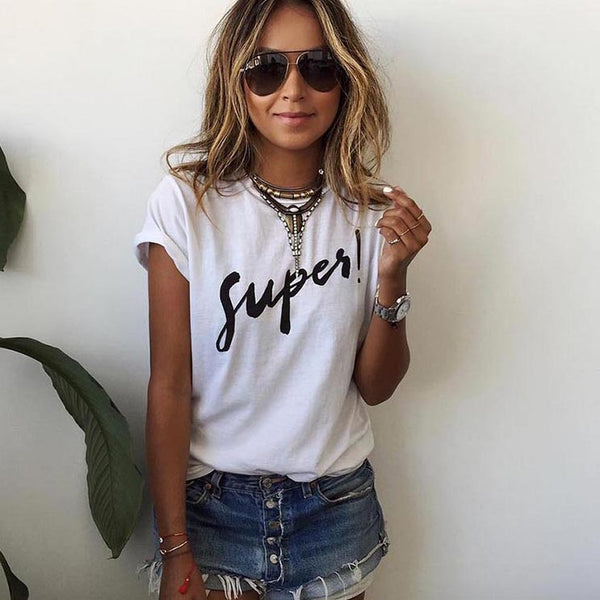 New Summer Women T-shirt Print Super T Shirt White Cotton Letter Tops Tee Harajuku Tshirt