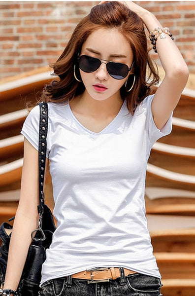 New Summer T Shirt Women Tops Tees Cotton Casual T-shirts V-neck Short Sleeve Female T-shirt Fashion White Black Tshirt Top