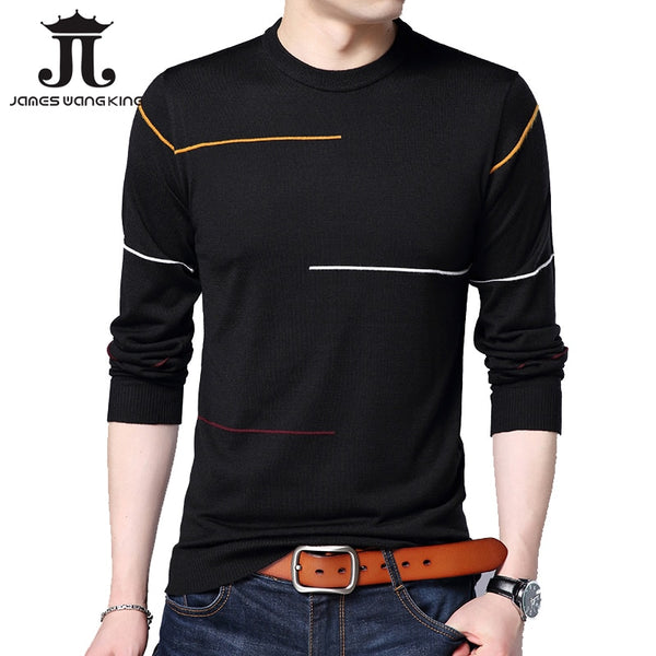 New 2018 pullover men sweater solid color long mens knitted slim Round neck sweaters men pull homme Asian size M-XXXL