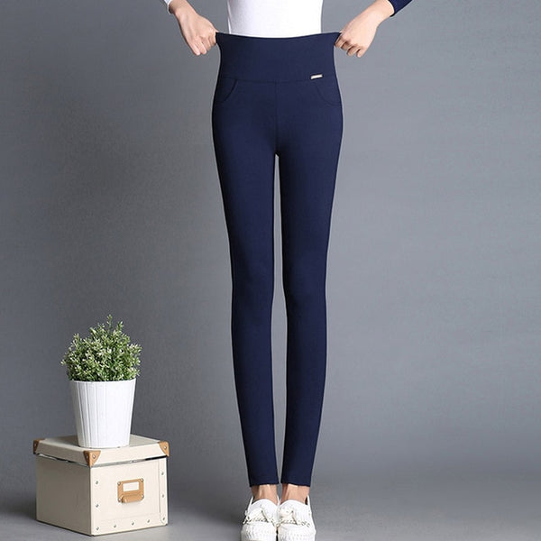 New Plus Size Women's Pencil Pants Trousers Female Stretch High Waist Cotton Casual Pants Skinny Office Pants Leggings