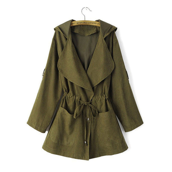 New Women Jack Coat Autumn Long Sleeve Hooded Coat Jacket Casual Elastic Waist Pocket Kimono Female Loose Outwear