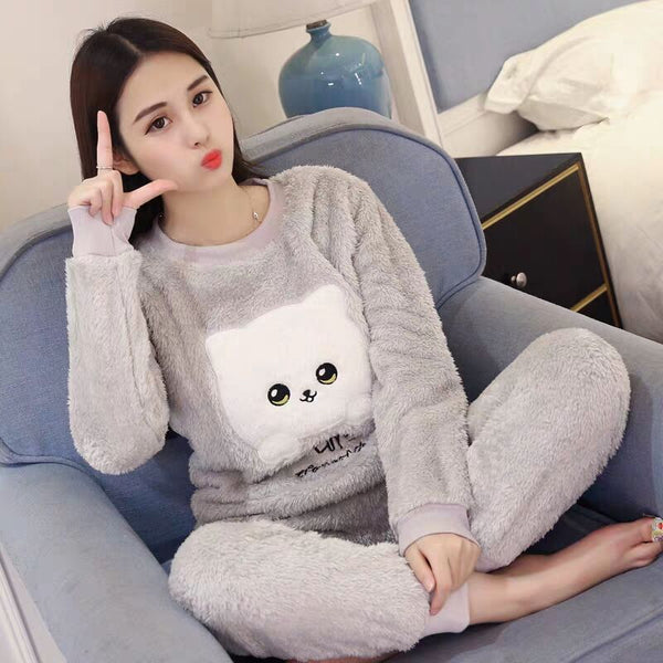 New  Autumn Winter Warm Flannel Women Pyjamas Sets Thick Coral Velvet Long Sleeve Cartoon Sleepwear Flannel Pajamas Set Girl