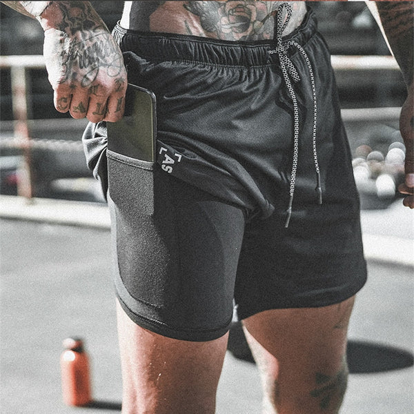 New Arrival Summer Double-Deck Mens Fitness Bodybuilding Breathable Quick Drying Short Gyms Men Casual Joggers Shorts